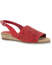 Easy Street Trudy Espadrille Wedge Sandal - Red