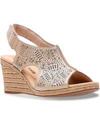 6da0897fd18 Clarks Lafley Devin Espadrille Wedge Sandal in Brown - Lyst