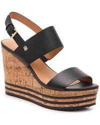 Tommy Hilfiger Briley Platform Wedge Sandal - Black