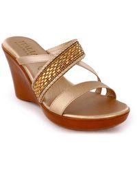 Italian Shoemakers Aubrie Wedge Sandal - Metallic