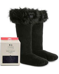 HUNTER Original Tall Faux Fur Boot Socks - Black