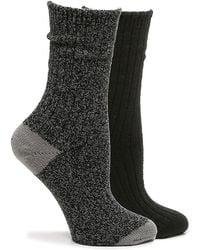 Kelly & Katie Soft Polytam Marled Crew Socks - Black
