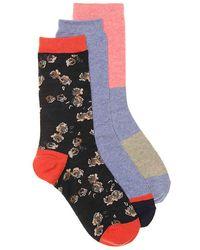 Lucky Brand Roses Crew Socks - Blue