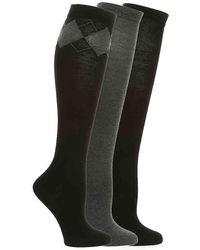 Nine West Argyle Knee Socks - Gray