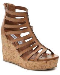 1fd9c84863d Lyst - Steve Madden Caileen Women Open Toe Suede Tan Wedge Sandal