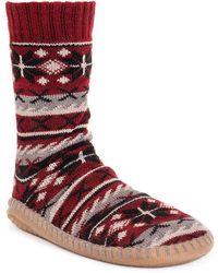 Muk Luks Sock Slipper - Red