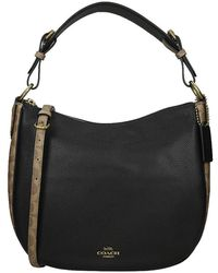 COACH Sutton Logo Buideltas Tan Black - Zwart