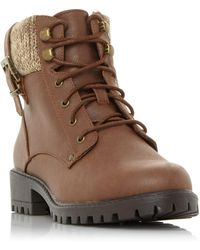Dune Pearls Knitted Cuff Hiker Boots - Brown