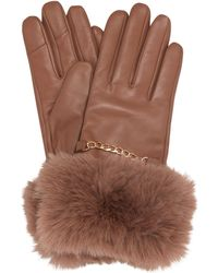 Dune Isabel Faux-fur Trim Gloves - Brown