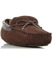Dune 'freeze' Warm Lined Driver Moccasin Slippers - Brown