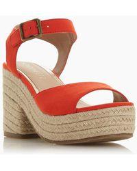 Dune Kace Platform Heel Espadrille Sandals - Red