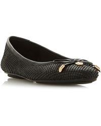 Dune Harpar Round Toe Ballerina Court Shoes - Black