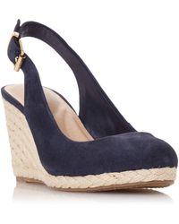 Dune Codi T Leather Wedge Heel Sandals - Blue