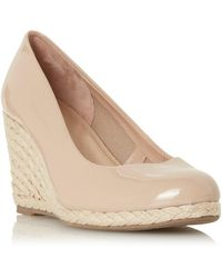 Dune Wf Annabels Wide Fit Wedge Heel Espadrille Shoes - Natural