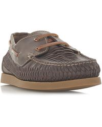 Dune Bugatti Woven Boat Shoes - Brown
