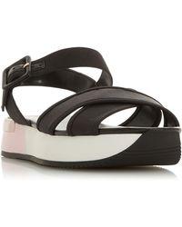 Dune Lozz Leather Platform Heel Sandals - Black