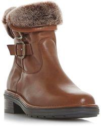 Dune Tan Leather 'rita' Calf Boots - Brown