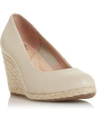 Dune - Ecru Leather 'annabels' Mid Wedge Heel Espadrille Shoes - Lyst