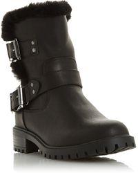 Dune Black 'rayee' Block Heel Biker Boots