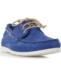 Dune Belize Lace Up Boat Shoes - Blue