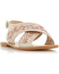 Bertie Luchia Embroidered Cross Over Sandals - Multicolour