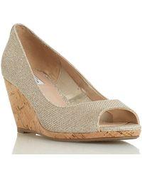 Dune Caydence Peep Toe Cork Wedge Sandals - Metallic