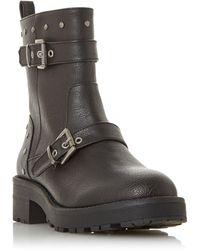 Dune Rosita Buckle Strap Biker Boots - Black
