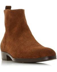 Dune Manta Side Zip Western Boots - Brown
