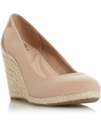 Dune Natural 'annabels' Mid Wedge Heel Espadrille Shoes