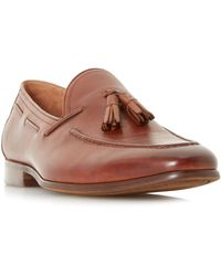 Dune Pastore Leather Tassel Loafers. Tan Leather - Brown