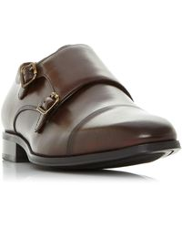 Dune Piramid Double Buckle Monk Shoes - Brown