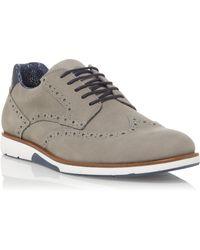 Dune Brawl Lace Up Brogue Shoes - Grey