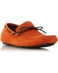 Dune Brandstable Plait Lace Driver Shoes - Orange