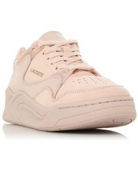 Lacoste Ladies Court Slam Contrast Panel Lace Up Trainers - Pink