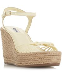 Dune Leather 'kikii' High Wedge Heel Ankle Strap Sandals - Yellow