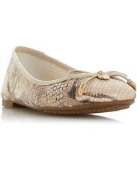 Dune Harpar Round Toe Ballerina Court Shoes - Natural
