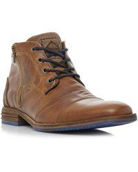 Dune Captains Double Toe Cap Detail Leather Boots - Brown