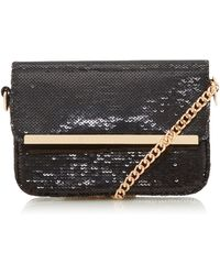 Dune Bessii' Sequin Gold Bar Crossbody Bag - Black