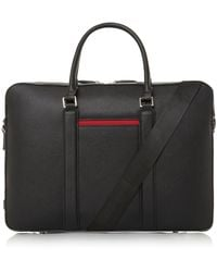 Dune Nebraska Saffiano Briefcase - Black