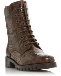 Dune Prestone Cleated Sole Lace-up Hiker Boots - Brown