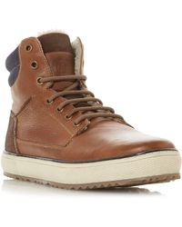 Dune Solar Borg Lined Lace Up Boots - Brown