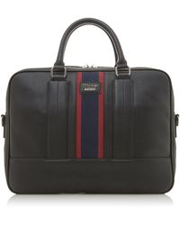 Dune 'office' Stripe Branded Briefcase - Black