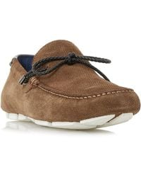 Dune Men's 'bluewater' Embossed Plait Lace Driver Loafers - Brown