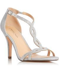 Roland Cartier Miichelle Diamante Twist T-bar Sandals - Metallic