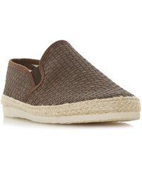 Dune Brown 'firmino' Woven Espadrilles Trim Slip-on Shoes