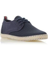 Dune Flask Mesh Lace Up Espadrille Shoes - Blue