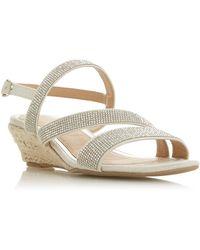 Dune Nicki Embellished Wedge Heel Sandal - White