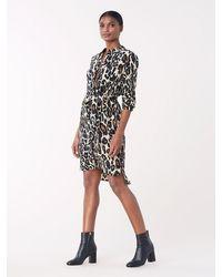 Diane von Furstenberg Prita Leopard Long-sleeve Wrap Dress - Black