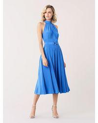 Diane von Furstenberg Nicola Silk Crepe De Chine Midi Dress - Blue