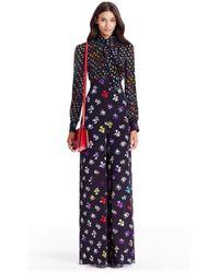 Diane von Furstenberg Dvf Arabella Tie Neck Silk Jumpsuit - Multicolour